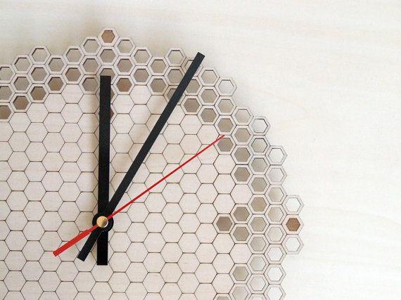 Honeycomb clock Regular - wooden wall clock - modern lasercut clock - beehive - hexagonal geometric clock