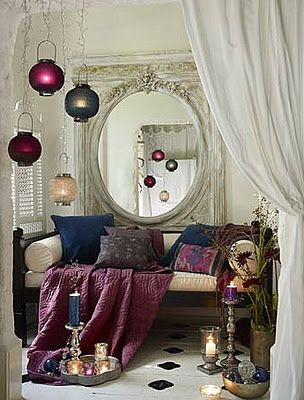 "A bit of Moroccan inspiration ~~ love the bohemian style ""all about the comfort & nothing proper......lived in"