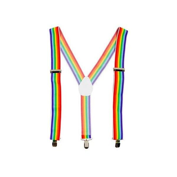 Rainbow Suspenders – Spirit Halloween ($9.99) ❤ liked on Polyvore featuring costumes, suspenders, rainbow costume, white clown costume, clown costumes, rainbow halloween costume and colorful halloween costumes