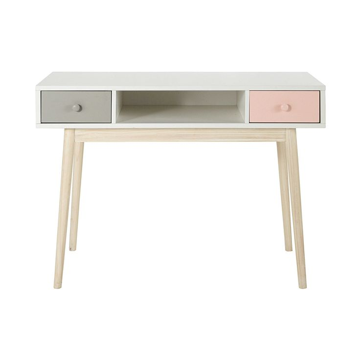 Schreibtisch aus Holz, B 110cm, weiß Blush