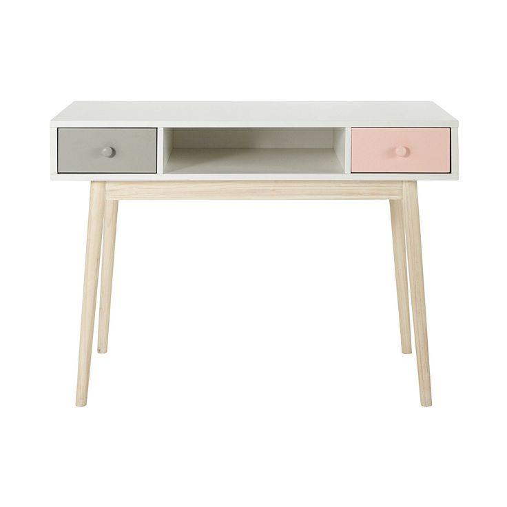 Maisons du Monde - Bureau en bois blanc L 110 cm Blush - 189,90 €