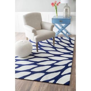 Shop For NuLOOM Handmade Modern Leaves Blue Area Rug (7u00276 X 9u0027