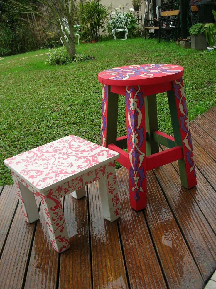 Bancos pintados a mano vintouch interviniendo muebles - Como hacer un banco de madera ...