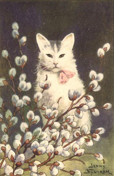 """Cat, by Jenny Nyström (1844-1956) -- """"Glad Påsk"""" - Eastern Postcard."""
