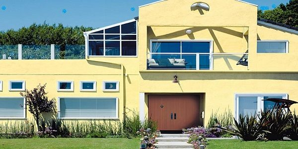 Home Exterior Color Schemes with Cheerful Yellow and Cinnamon also Pure White