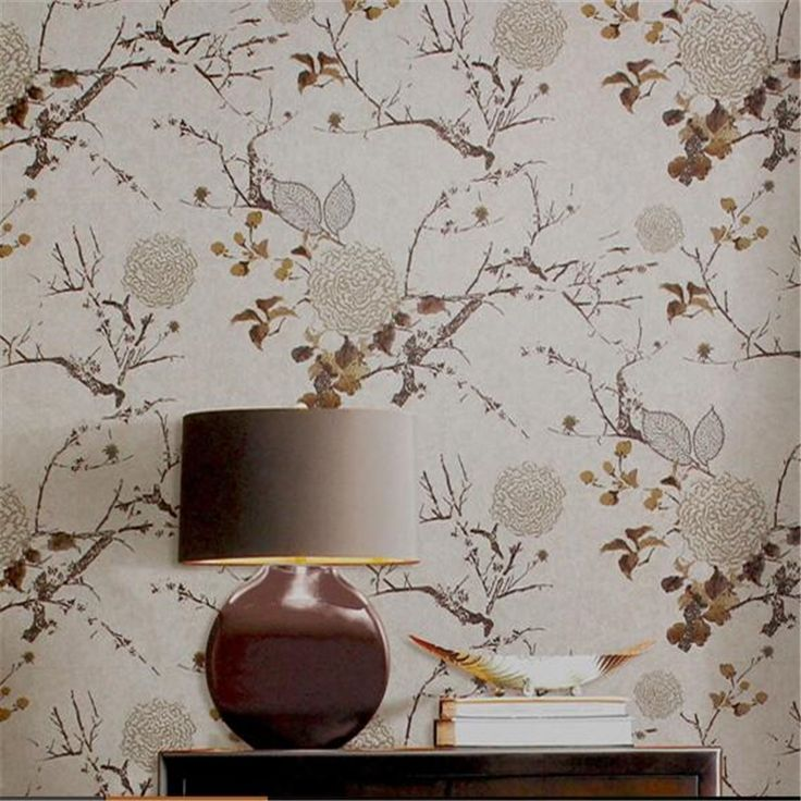 (34.84$)  Buy here  - Classical ink flowers and birds wallpaper American bedroom study living room TV background wallpaper non - woven fabrics