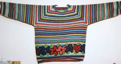 My 'Gypsy pullover' designed by Kaffe Fassett from Rowan Knitting Magazine No. 24