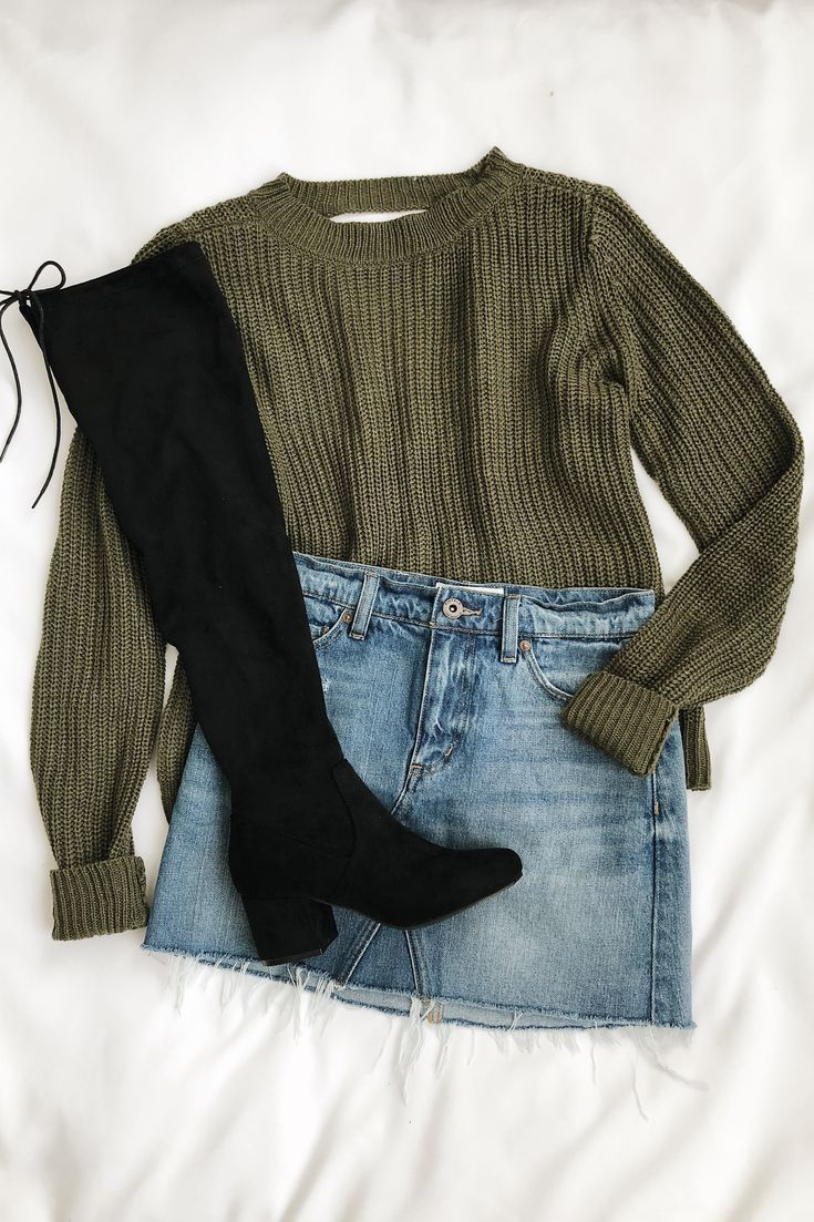 Do you know you Olive knit sweater with neckline – Women's Fashion