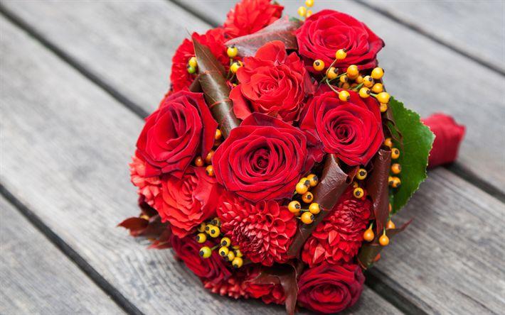 Descargar fondos de pantalla ramo de novia, 4k, rosas rojas, de boda, rosas, flores de color rojo