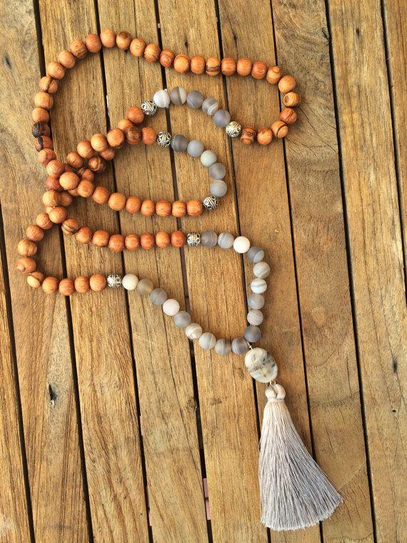 matte grey agate traditional 108 bead mala prayer by eversdesigns