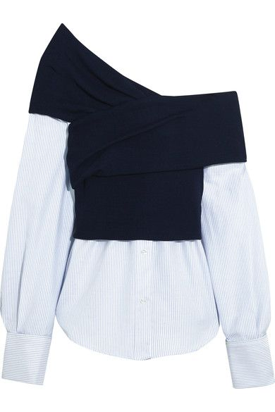 Simon Porte Jacquemus' creations always push boundaries and reinterpret the concept of layering. Part of a nine-piece capsule, this top is cut from a combination of striped cotton-poplin and twisted navy ribbed-knit that sits nonchalantly off-the-shoulder. Style it with pants and sneakers.