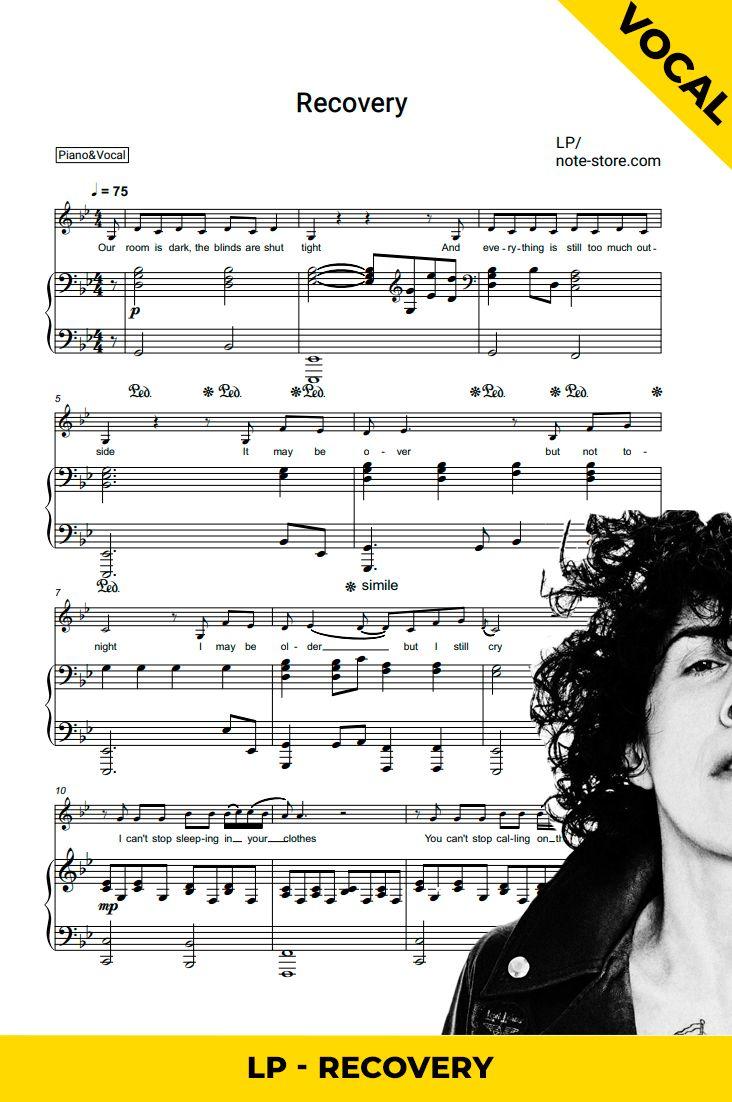 Recovery Piano Vocal Sheet Music Piano Sheet Music Piano