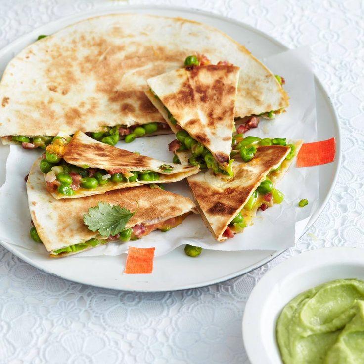 Erbsen-Quesadillas mit Guacamole