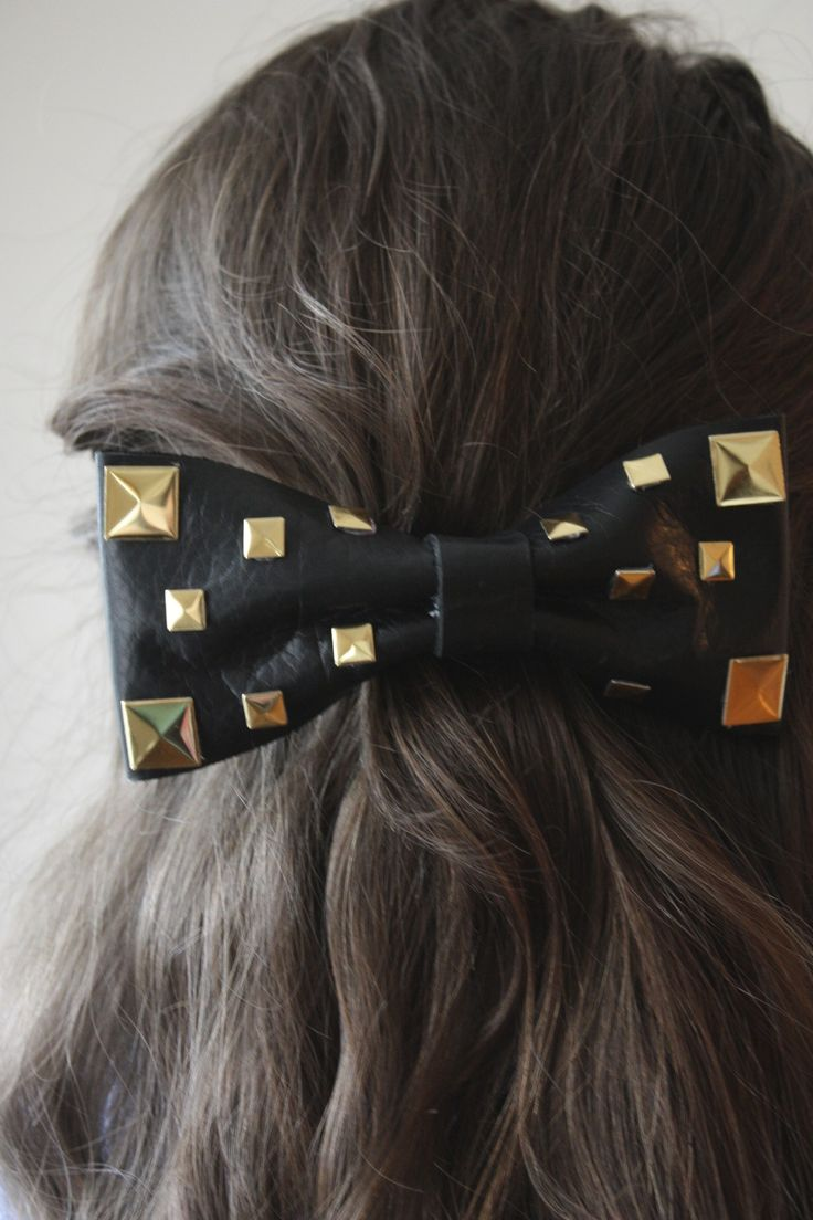 Black bow hair accessories - How To Make A Studded Bow From Scratch