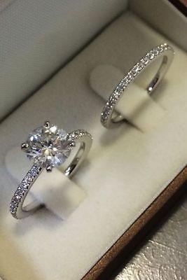 Details about 1.50 Ct Princess Cut D/VVS1 Diamond Bridal Set Engagement Ring 14K White Gold Fn