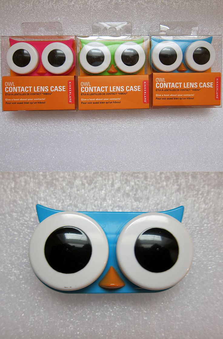 """Nothing says, """"Give a hoot about your eyes"""" like an owl contact lens case. :)"""