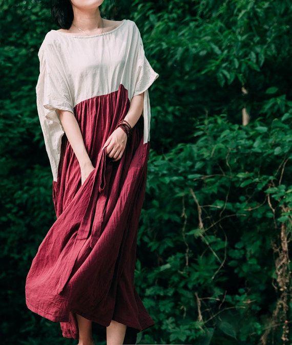 Cotton Dress, Linen Dress, Dark Red dress, Off White Top , Medium Sleeve, loose fitting dress, spring dress, round neck, Plus size, maxi