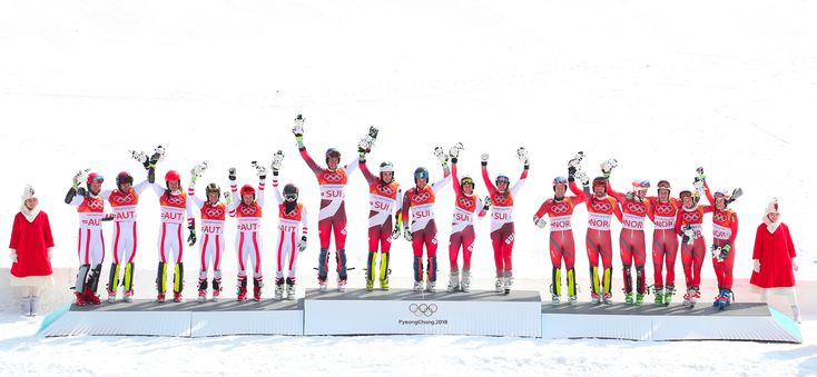 Alpine Skiing team event. Gold - Switzerland, Silver - Austria, Bronze -Norway