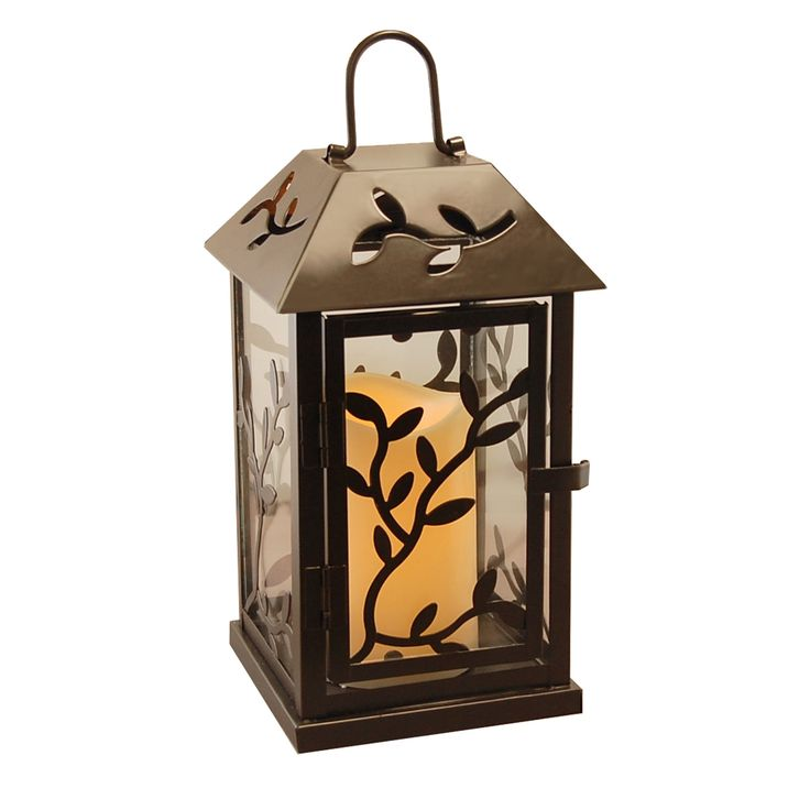 Specialties Vine Metal Lantern with LED Candle, and Timer