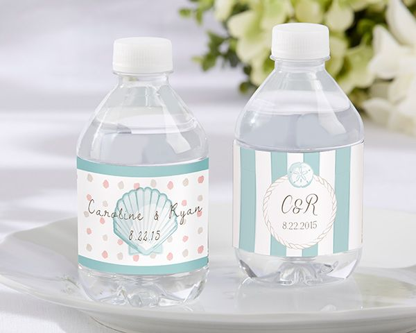 Personalized Water Bottle Labels - Beach Tides for  beach wedding #beachwedding #waterbottlelabel
