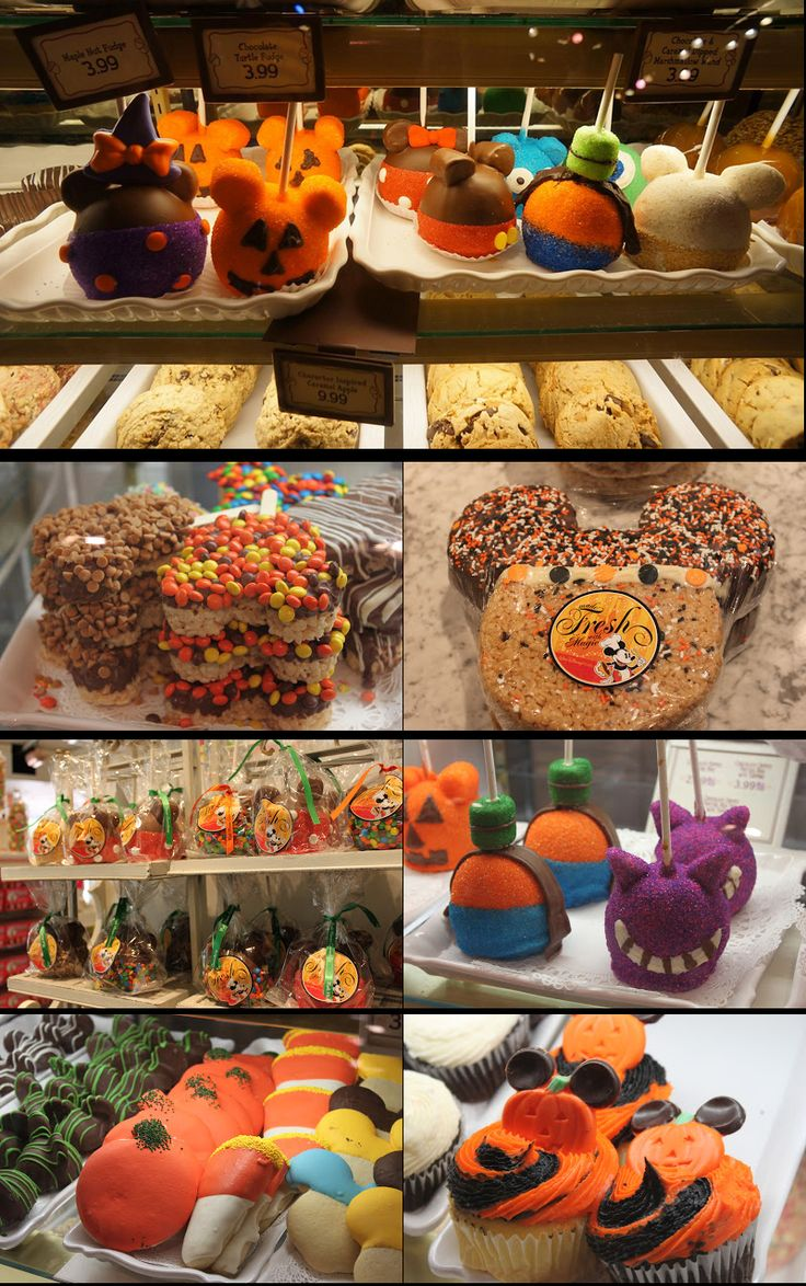 Mickey Mouse Halloween Treats sold at the Disney theme parks.  These designs may inspire you to make your own Mickey Not-So-Scary Halloween treats!