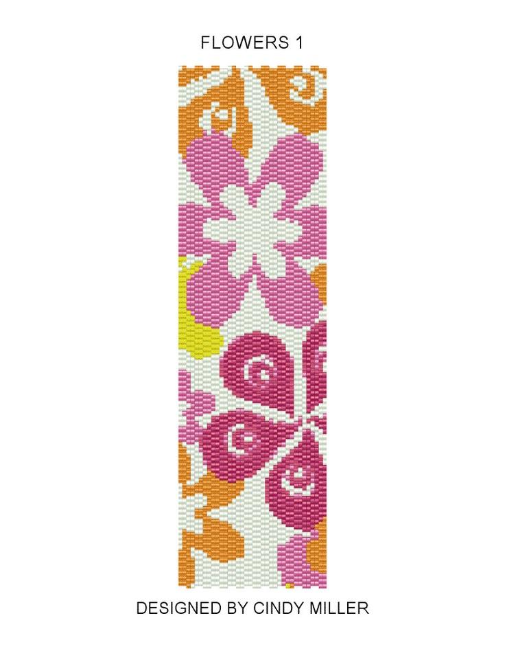 Flowers 1 Peyote Bracelet Pattern