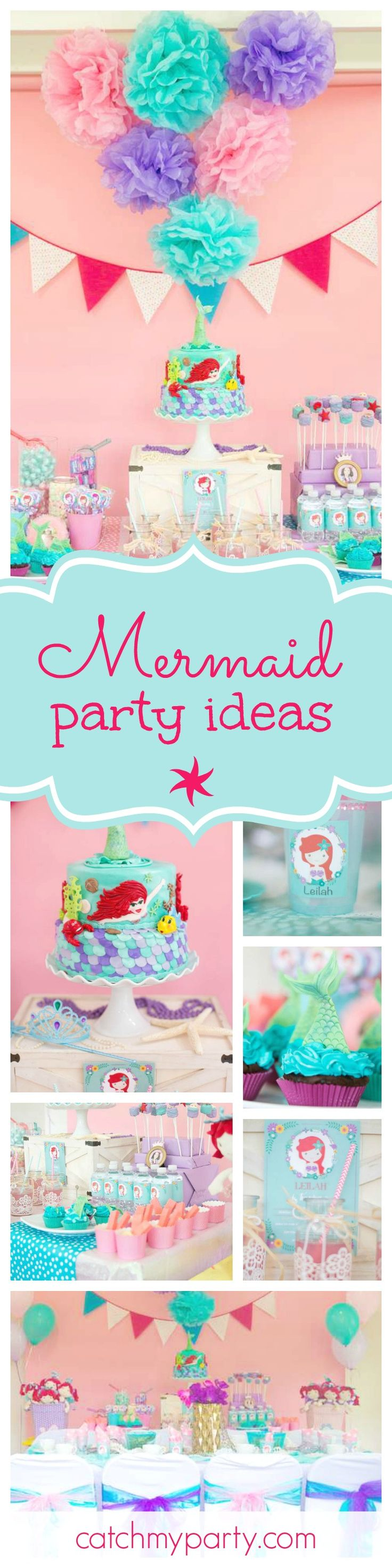 Check out this fantastic Little Mermaid birthday party. The gorgeous mermaid under the sea birthday cake is so impressive! See more party ideas and share yours at CatchMyParty.com