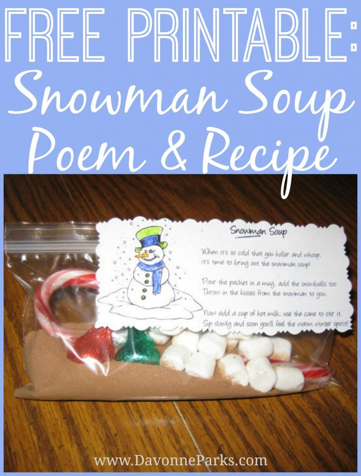 Free Printable Snowman Soup Poem and Recipe. This frugal and easy project is perfect for kids to make and can be used for stocking stuffers, party favors, or small class gifts!