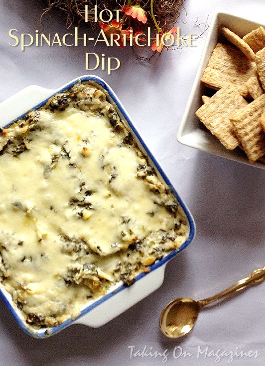 Hot Spinach-Artichoke Dip   Taking On Magazines   www.takingonmagazines.com   Lots of gooey cheese, tender spinach, artichoke hearts, a creamy filling and a pepperjack zing.