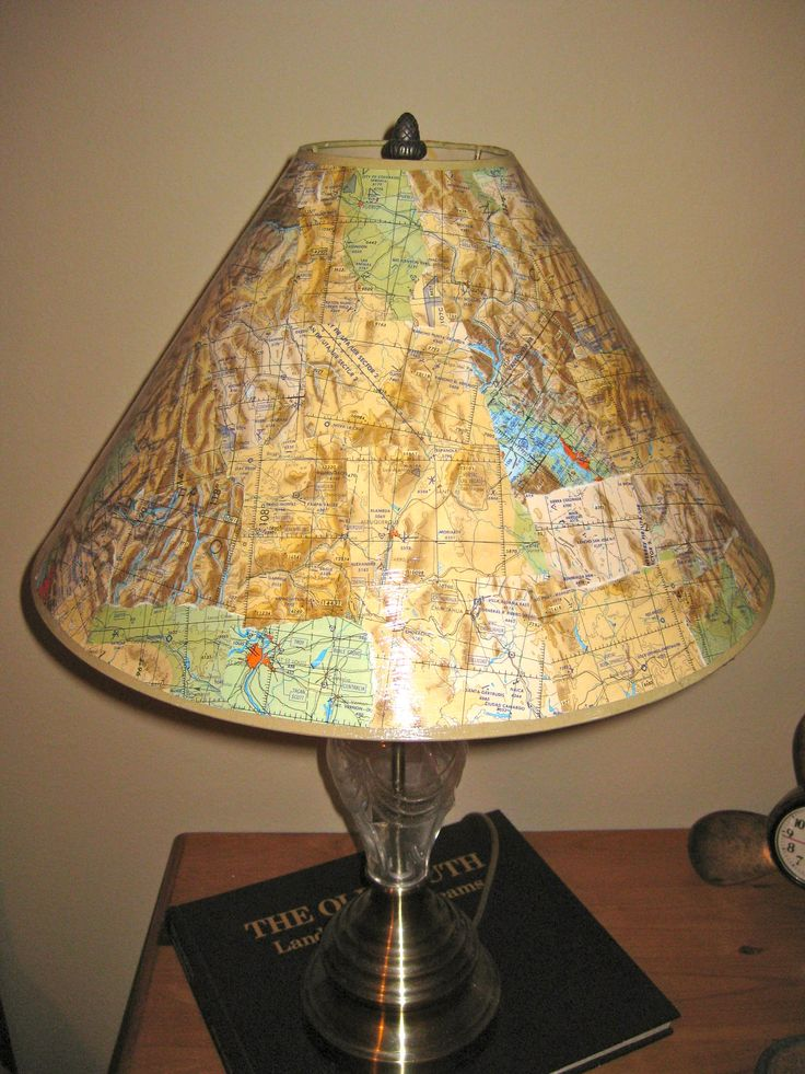 Decoupage lampshade with flight maps  Crafty  Decoupage Vintage lampshades Decor interior design