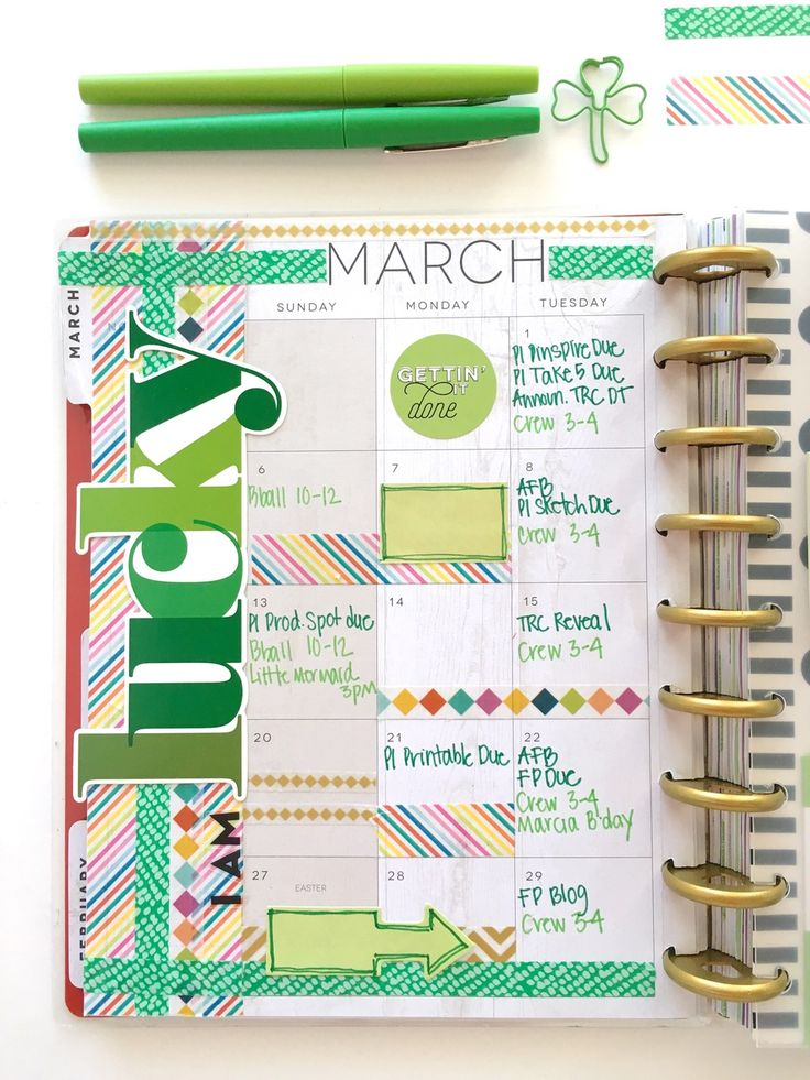lucky March monthly layout in The Happy Planner™ of mambi Design Team member Mary-Ann Maldonado | me & my BIG ideas