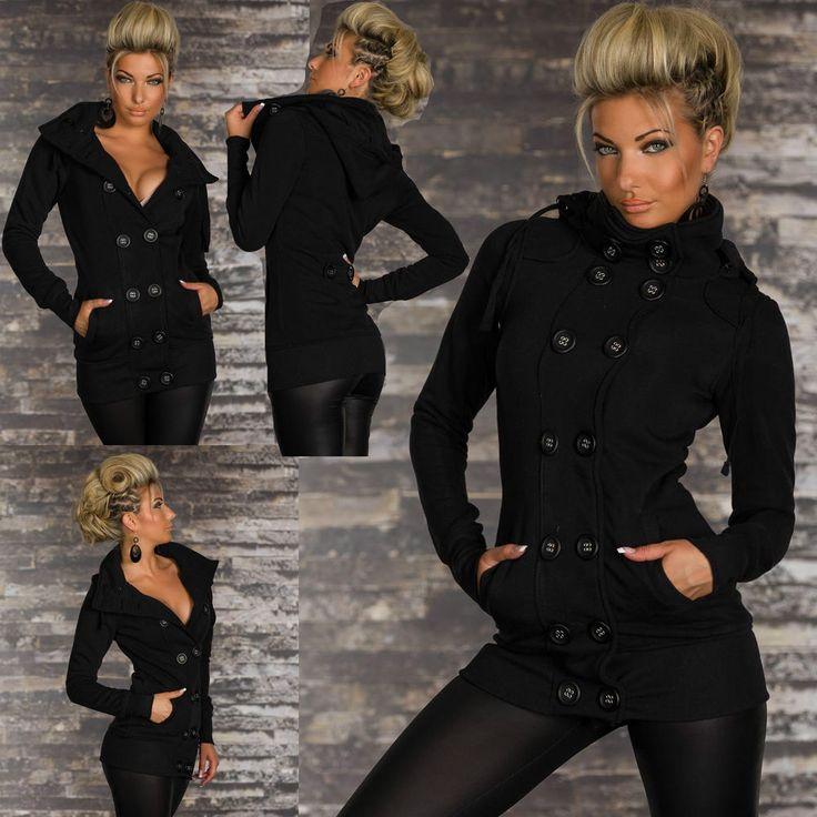 Sexy Neuf Femmes Chaude Manteau Veste D  Hiver Parka Noir à Capuche Taille UK 8