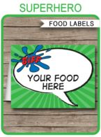 Superhero Party Food Labels template – green