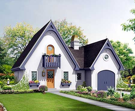 Enchanting Getaway Cottage - 57220HA | 2nd Floor Master Suite, Cottage, European, French Country, Narrow Lot, PDF, Vacation | Architectural Designs