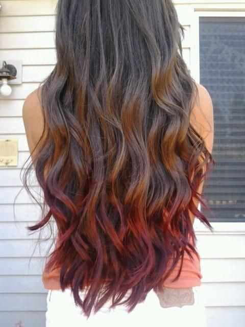 Red dipped ombre brunette waves. Maybe not quite so purpley-red on the ends...