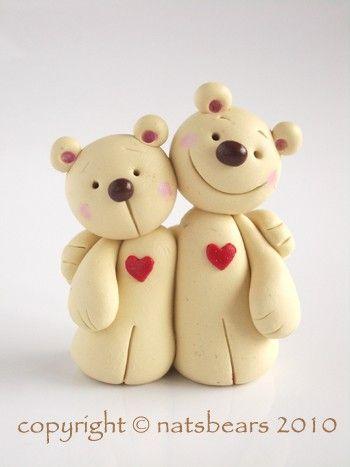 Polymer clay miniature Hart bears made to order. $25.00, via Etsy.