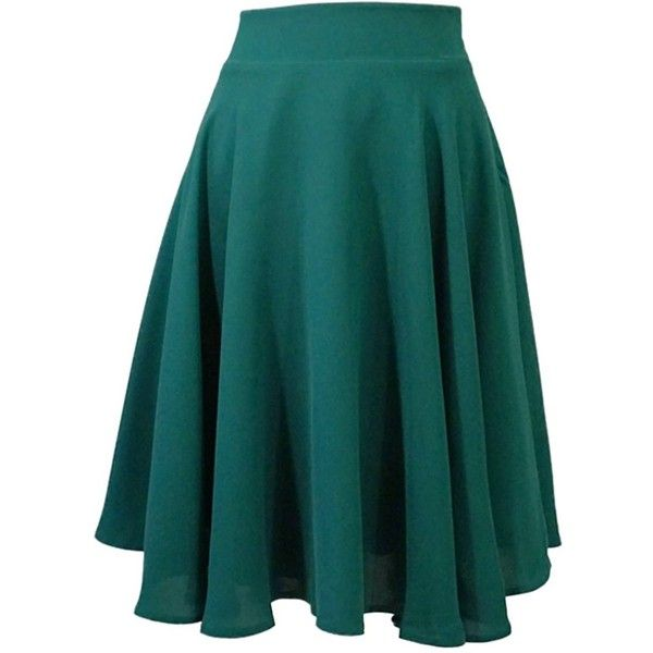 Lauren Lynn London - The Louisa Skirt - Flared Knee length skirt -... (740 PEN) ❤ liked on Polyvore featuring skirts, knee length skirts, emerald green skirt, flare skirt, knee high skirts and green skirt