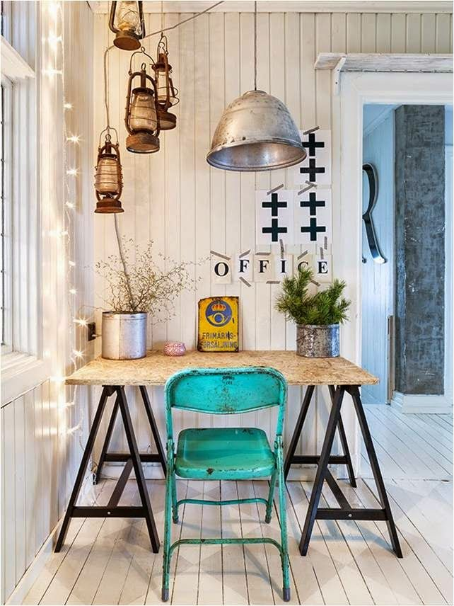 Rustic. One blue chair.