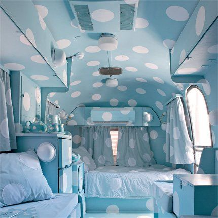 I'd love to redo Gerald's Airstream like this...I don't think he would agree.: Spots, Airstream, Caravan Interiors, Travel Trailers, Fun, Hotels, Vintage Campers, Blue And White, Blue Polka Dots