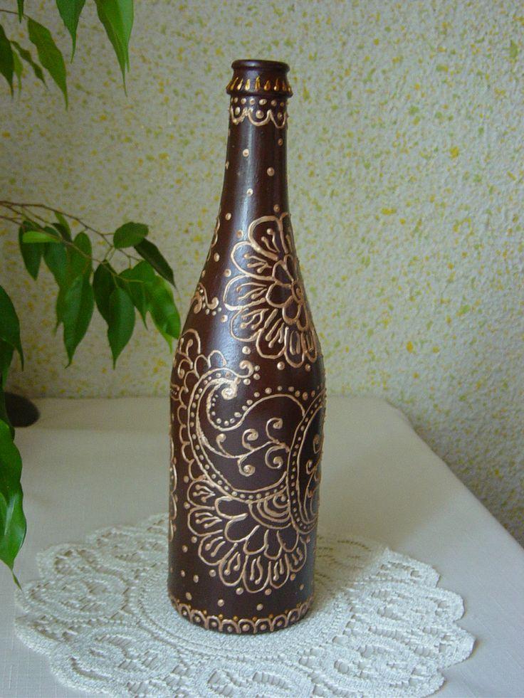 Butelka dekorowana konturówką