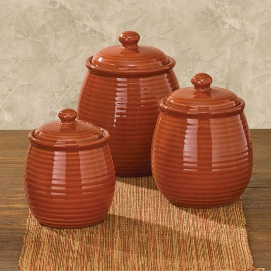 Set of 3 serrano terracotta kitchen canisters ceramic for Kitchen set orange
