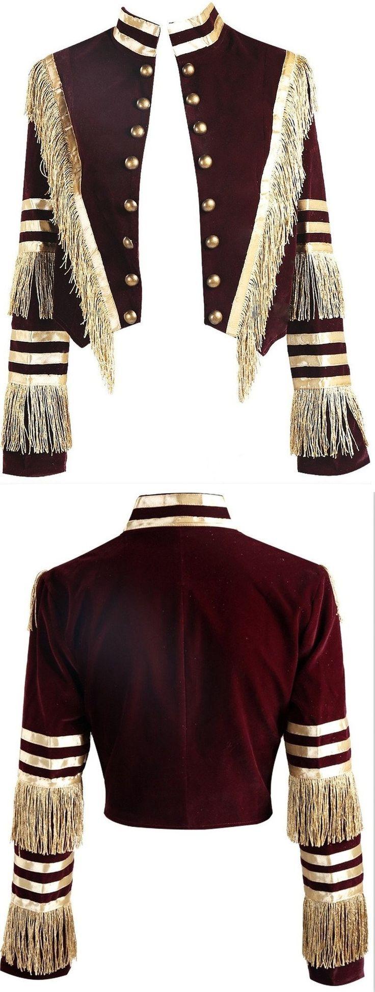 Fringed Velvet Military Jacket in Dark Red