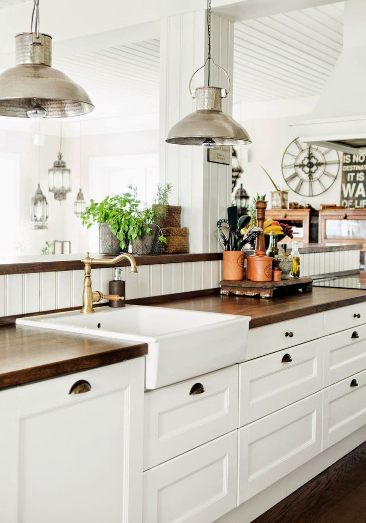 Butcher Block counter tops & farmhouse sink. Everything in this photo is awesome!