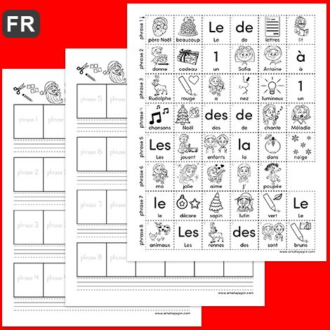 Construire phrase Noël   L'enfant découpe les mots illustrés de la page 3 du document (une rangée correspond à une phrase). Il replace les mots en ordre pour former une phrase et il les colle dans les carrés aux pages 1 et 2. Il peut ensuite écrire les phrases obtenues dans les trottoirs. NOTE: Afin d'aider les élèves, la majuscule est indiquée sur les images. Par contre, l'élève devra ajouter un point à la fin de chaque phrase qu'il écrit.