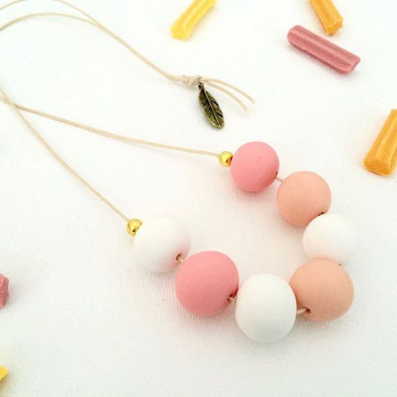 Handmade polymer clay beaded necklace by FinchcreationsStore