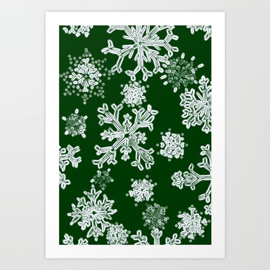 Snowflakes-green-pattern Art Print