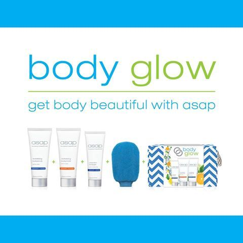 NEW ASAP Body Glow Packs now available! With the warmer weather just around the corner, asap have the perfect product pack to get you SUMMER-BODY-READY!!  asap's Body Glow pack contains:  Revitalising Bodyscrub 200ml   Revitalising Bodymoist 200ml   Clearskin Bodygel 120ml  Deluxe Exfoliating Shower Mitt  Deluxe Summer Travel Bag Leaving your skin: ✅ Smoother ✅ Softer ✅ Clearer ✅ Hydrated ✅ Glowing Also perfect for before and after tanning, waxing and laser treatments, it