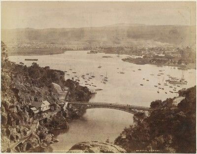 Launceston,Tasmania and the Tamar River from the Zig Zag track,Cataract Gorge in 1890.