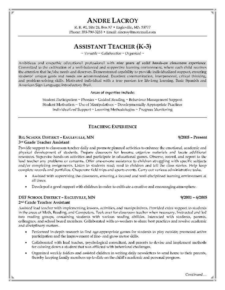 TeacherAssistantResumeExamplePage1 Teacher resume
