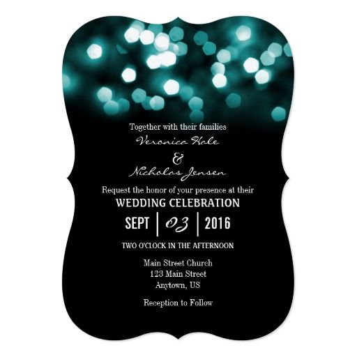 Teal Black Bokeh Glitter Lights Wedding Invites